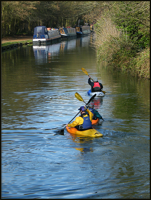 paddling up the canal