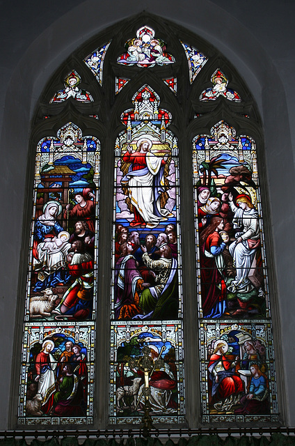 Stained glass window in St Peter's Church, Monks Eleigh, Suffolk, England