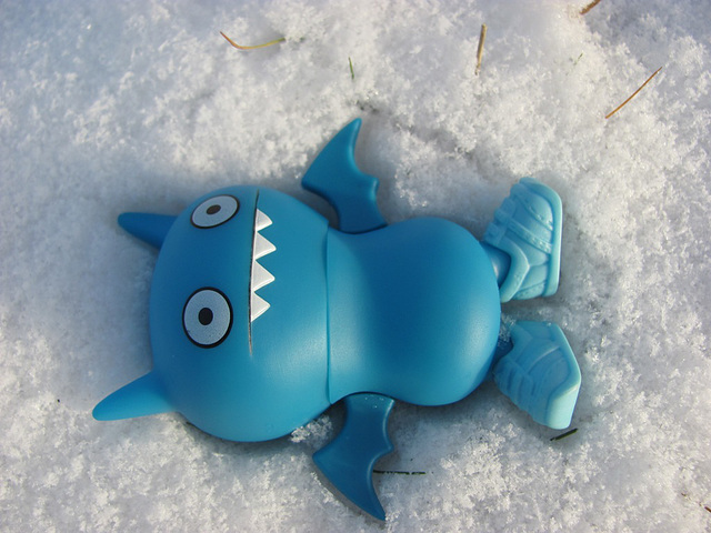 Icy making a snow angel