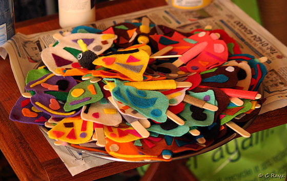 Moths on Stick in Making