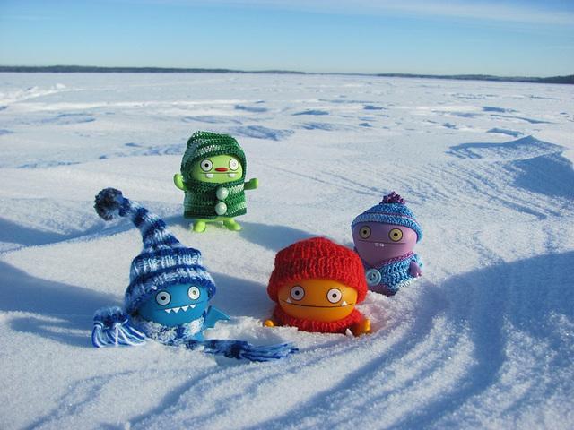 Uglydolls on a frozen lake