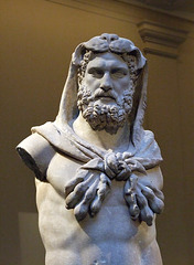 Detail of the Marble Statue of a Bearded Hercules in the Metropolitan Museum of Art, July 2007