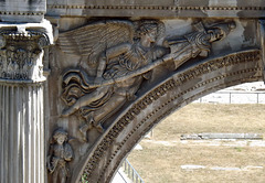 Detail of one of the Spandrels of the Arch of Septimius in the Forum Romanum, July 2012