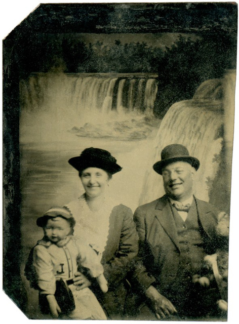 Man and Woman with Doll at Niagara Falls