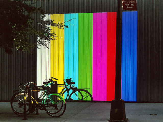 PowerPoint Colors Projected on the Wall of MoMa's Garden, Sept. 2006