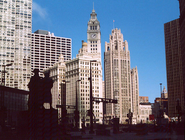 Skyline of Chicago with the Tribune Building, October 2001