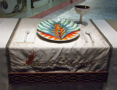 Setting for St. Bridget in the Dinner Party by Judy Chicago in the Brooklyn Museum, August 2007