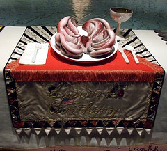 Setting for Susan B. Anthony in the Dinner Party by Judy Chicago in the Brooklyn Museum, August 2007