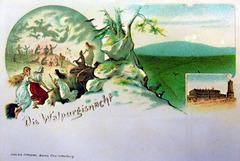 Es farzt die Hexe, es stinkt der Bock /vintage Postcard