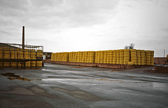 Yellow corrugated drainage pipes