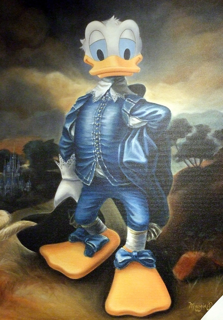 Donald Duck as Gainsborough's Blue Boy Painting in the Disney Store, June 2008