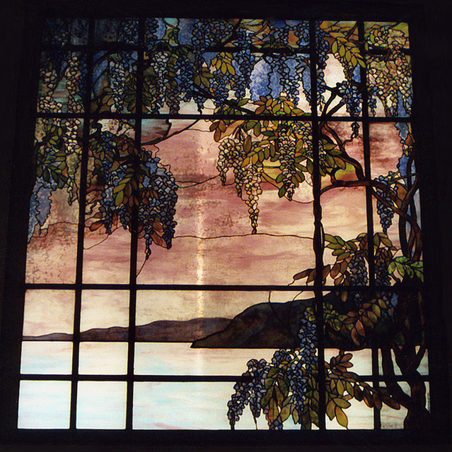 View of Oyster Bay Stained Glass Window by Tiffany in the Metropolitan Museum of Art, Sept. 2006
