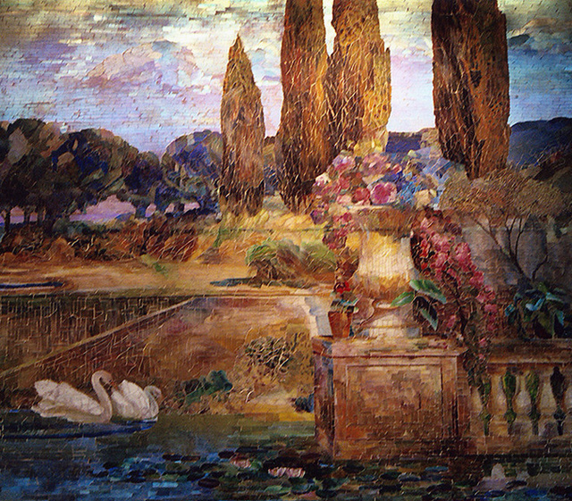 Garden Landscape and Fountain (Detail) of a Mosaic Fountain by Louis Comfort Tiffany in the Metropolitan Museum of Art, Sept. 2006