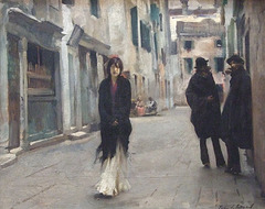 Detail of Street in Venice by John Singer Sargent in the National Gallery, September 2009