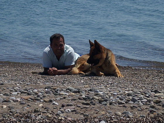 Dogan chilling with his dog
