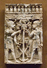 Ivory Plaque with Pharaonic Figures Flanking a Sacred Tree in the Metropolitan Museum of Art, July 2010
