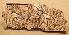 Assyrian Ivory Plaque with Two Sphinxes Each Trampling a Fallen Asiatic in the Metropolitan Museum of Art, August 2008