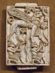Ivory Plaque with Two Kneeling Youths Supporting a Ram-headed Sphinx in the Metropolitan Museum of Art, July 2010