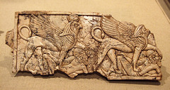 Assyrian Ivory Plaque with Two Winged Sphinxes, each Trampling a Fallen Asiatic in the Metropolitan Museum of Art, February 2008