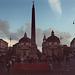 Piazza Del Popolo in Rome at Dusk, Nov. 2003