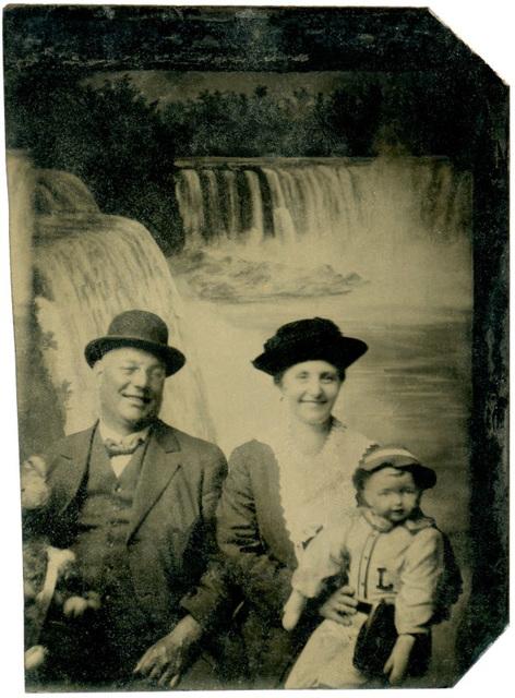 Man and Woman with Doll at Niagara Falls (Mirror Image)