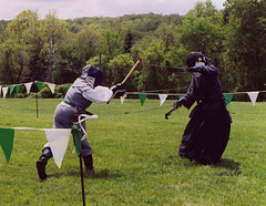 Marian & Christine Fencing at Ian & Katherine's Last Championships, May 2006