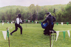 Llywellan and Christine Fencing at Ian & Katherine's Last Championships, May 2006