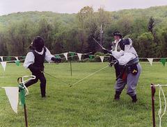 Llywellan and Marian Fencing at Ian & Katherine's Last Championships, May 2006
