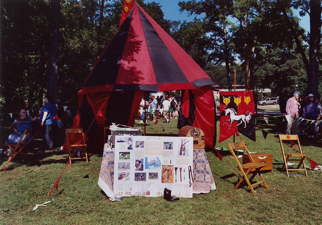 Mistress Brianna's Red & Black Tent and Falconry Demo at the Peekskill Celebration, Aug. 2006