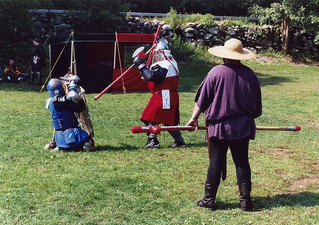 Kazimir & Luis Fighting with AEthelstan Marshalling at Barleycorn, Sept. 2006