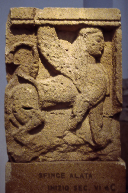 Sphinx Metope from Selinus in the Palermo Archaeology Museum, March 2005