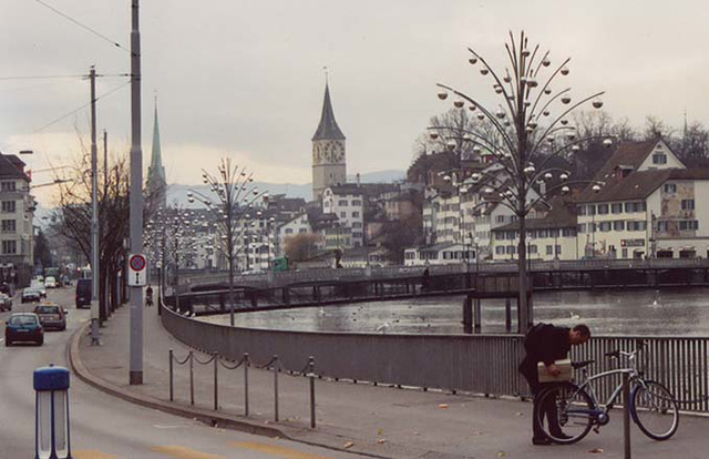 View of St. Peter's Kirche & the Limmat River in Zurich, Nov. 2003