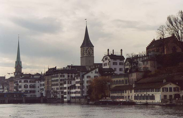 View Across the Limmat River in Zurich, Nov. 2003
