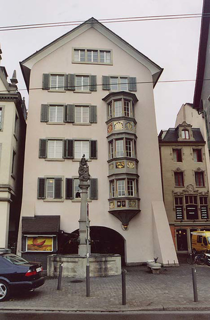 Fountain and Building in Zurich, Nov. 2003