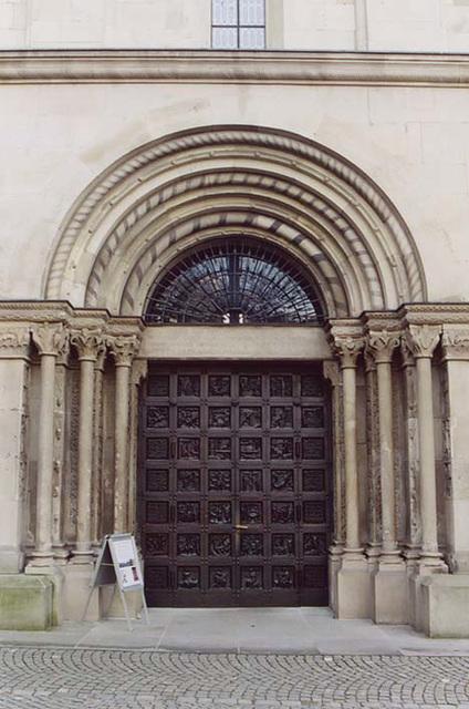 Door to the Grossmunster Church in Zurich, Nov. 2003