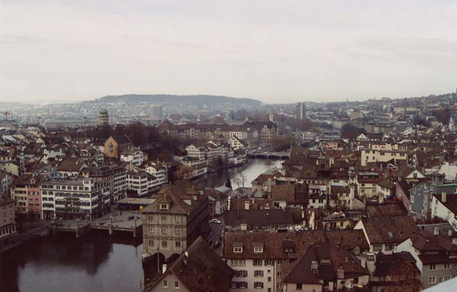 View of the City of Zurich from the Grossmunster, Nov. 2003