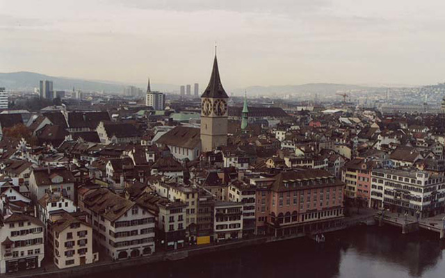 View of the City of Zurich, including St. Peter's Kirche from the Grossmunster, Nov. 2003