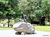 Huntaway dog statue in Hunterville