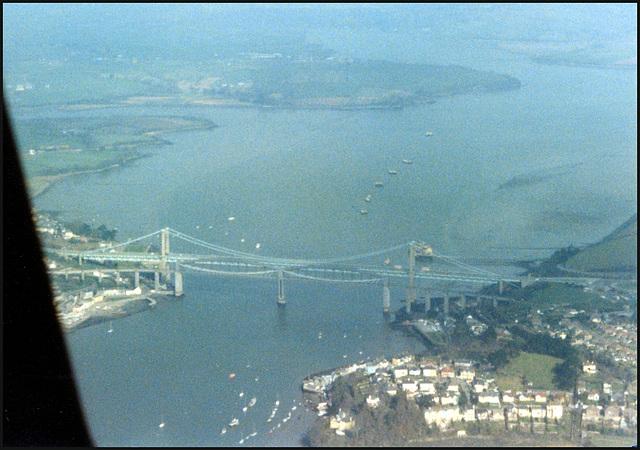 aerial view of the Tamar Bridges