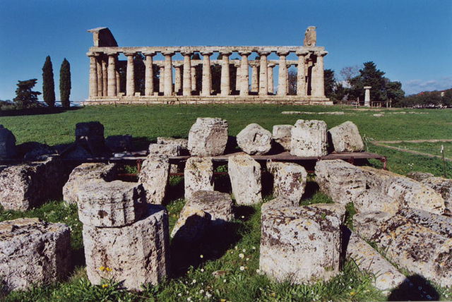 Temple & Broken Columns at Paestum, Nov. 2003