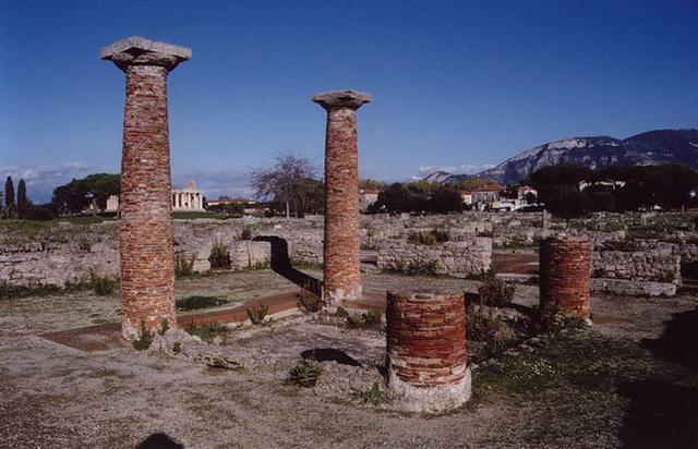 Brick Columns around the Impluvium in a Roman Atrium House in Paestum, 2003