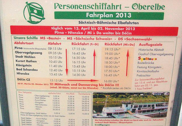 ŝipveturigo de personoj en la supra parto de Elbe
