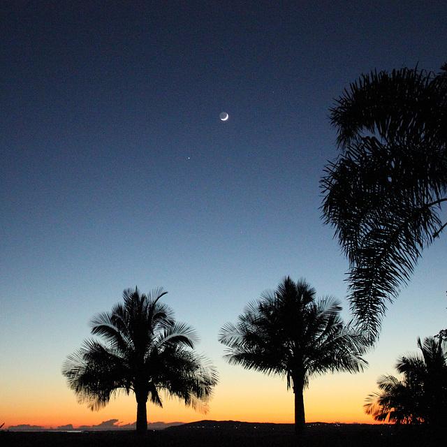 Sunrise and Crescent Moon
