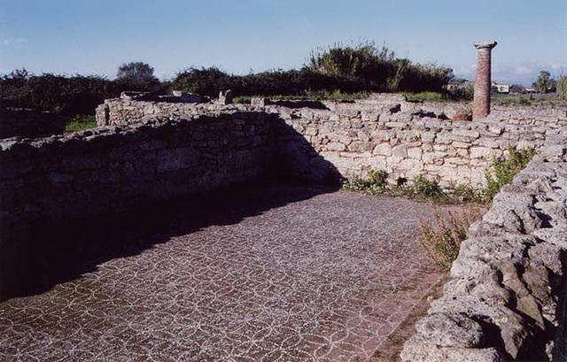 White Geometric Floor Mosaic in Paestum, 2003