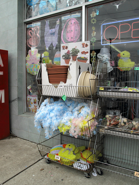 $1.39 plastic flowerpots in earthen colours; $1.39 strands of Easter Tinsel, a new tradition; and $1.39 chicks hangings.