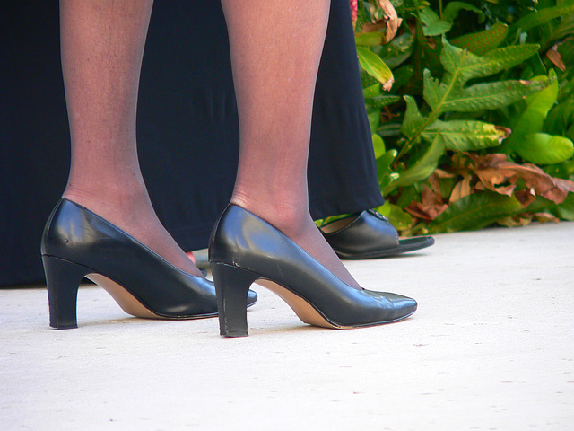 heels, hose, street scene