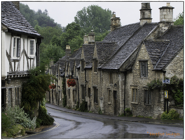 rainy day in castle combe