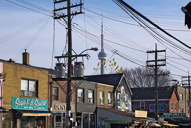 The CN Tower Viewed from Kensington Market – Augusta Avenue, Toronto, Ontario