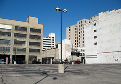 Name the downtown of the rust belt city seen here; answer: downtown Dayton Ohio.