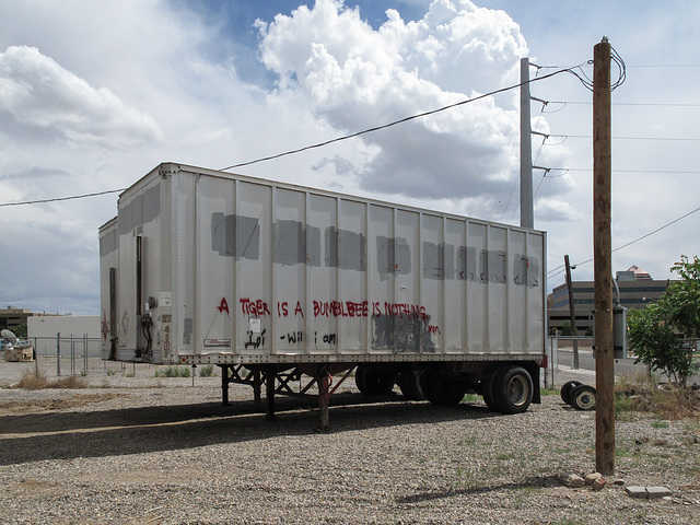 """""""A tiger is a bumblebee is nothing,"""" silliness of Albuquerque youths, out late hanging out among unhitched semi-trailers in gravel parking lots, wasting away their american lives."""